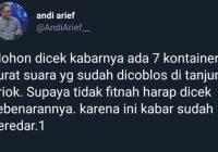 Andi Arief Hapus Tweet soal Tujuh Kontainer Surat Suara Tercoblos