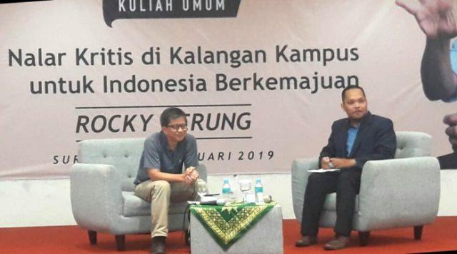 Berpikir Kritis, Rocky Gerung Sebut Muhammadiyah Tempat Dirinya Taubat