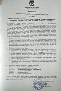KPU Umumkan Syarat Bacawali Kota Denpasar Jalur Perseorangan