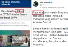 AS Klaim Donasi 4 Juta Dosis Vaksin Moderna ke RI tapi Jokowi Bilang 3 Juta, ke Mana yang 1 Juta